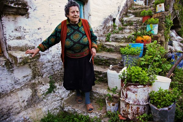 Idős asszony a gyógynövényei mellett (Fotó: Gianluca Colla, National Geographic)