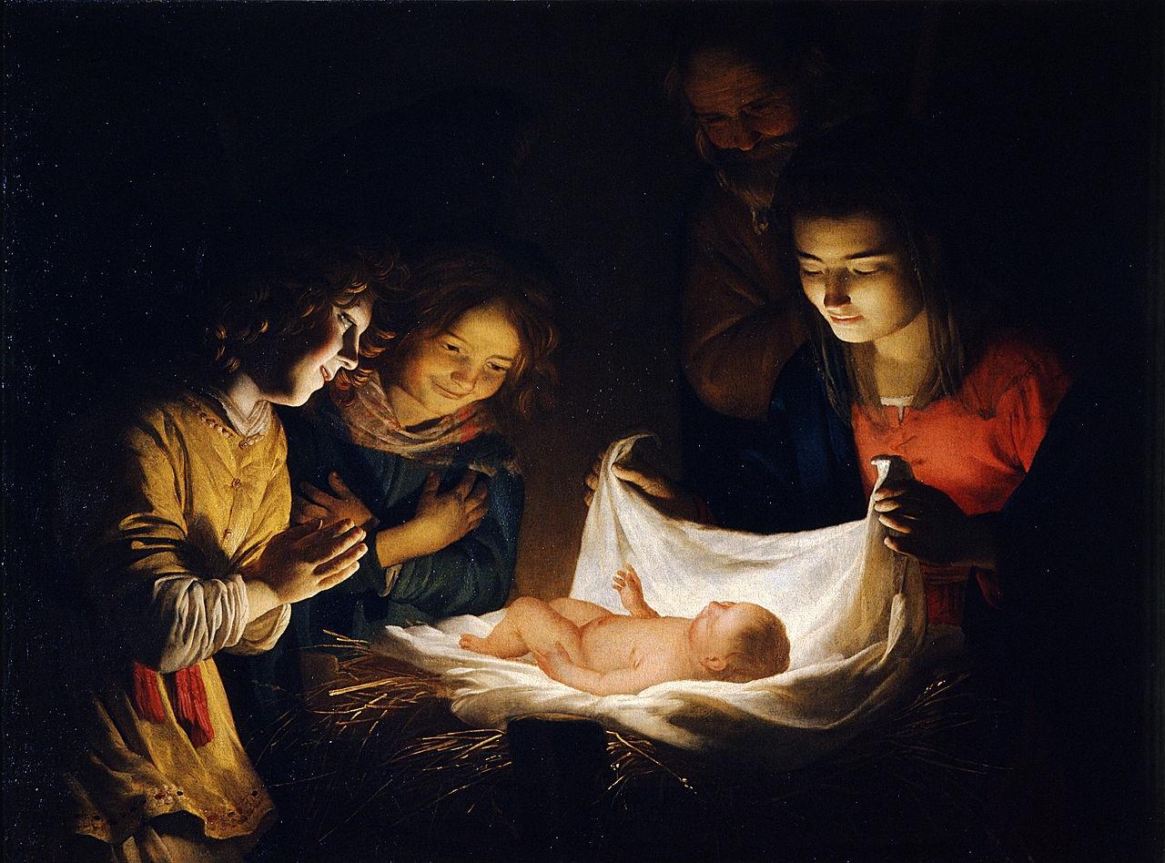 Gerrit van Honthorst: A gyermek imádása – Utrecht, 1620 körül