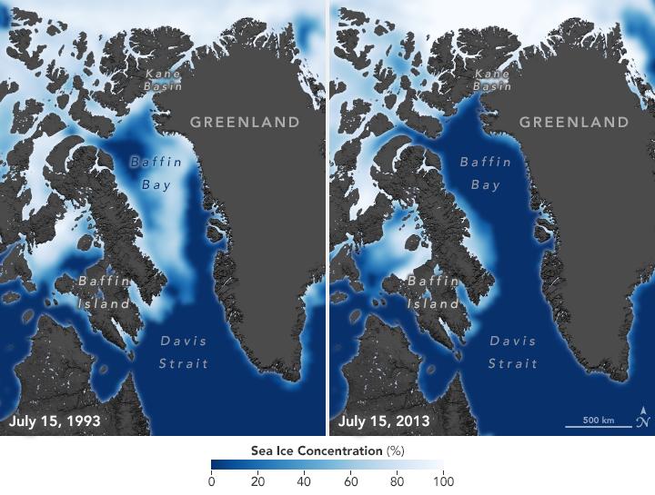 A tengerjég kiterjedése 1993-ban és 2013-ban, a világosabb szín a jég jelenlétét mutatja, a kék a vízét.