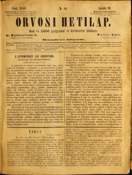 Az Orvosi Hetilap 1858. január 10-én megjelent száma Semmelweis A gyermekágyi láz kóroktana című cikkével